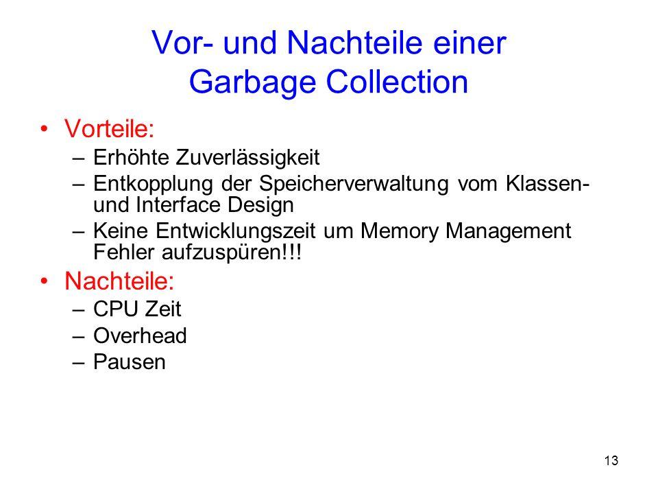 13 Vor- und Nachteile einer Garbage Collection Vorteile: –Erhöhte Zuverlässigkeit –Entkopplung der Speicherverwaltung vom Klassen- und Interface Desig