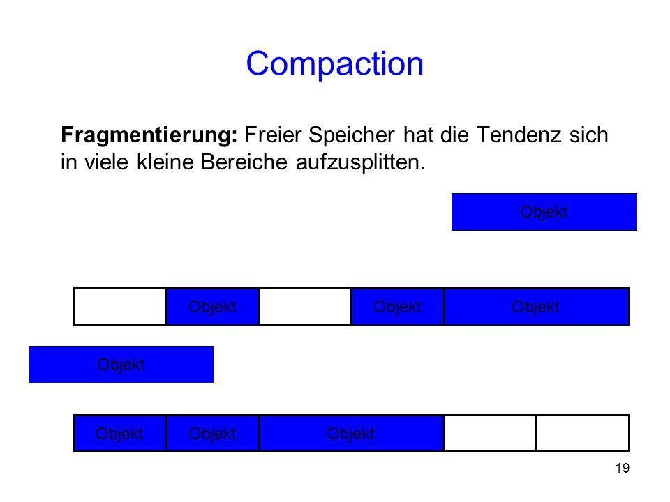 19 Compaction Fragmentierung: Freier Speicher hat die Tendenz sich in viele kleine Bereiche aufzusplitten. Objekt