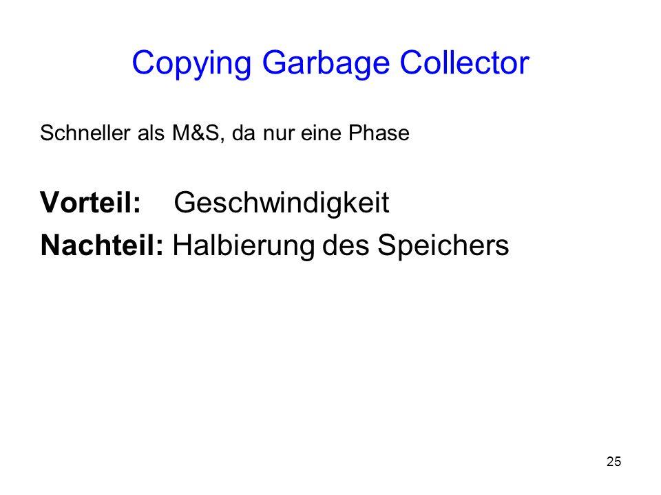 25 Copying Garbage Collector Schneller als M&S, da nur eine Phase Vorteil: Geschwindigkeit Nachteil: Halbierung des Speichers