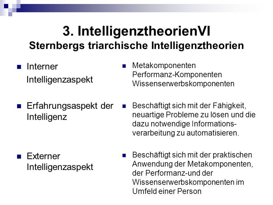 3. IntelligenztheorienVI Sternbergs triarchische Intelligenztheorien Interner Intelligenzaspekt Erfahrungsaspekt der Intelligenz Externer Intelligenza