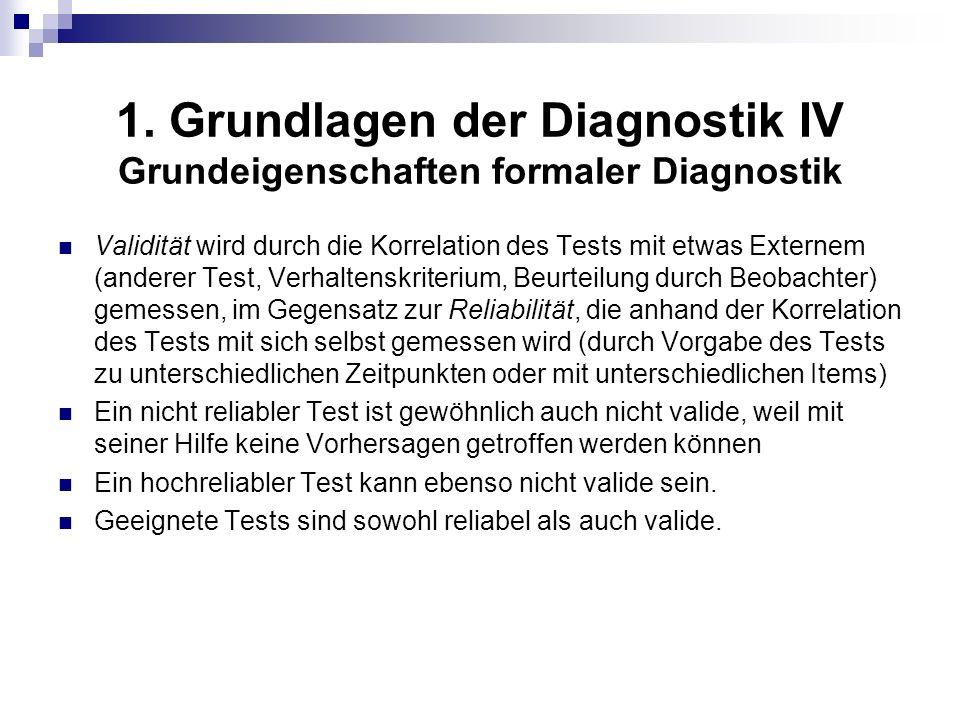 1. Grundlagen der Diagnostik IV Grundeigenschaften formaler Diagnostik Validität wird durch die Korrelation des Tests mit etwas Externem (anderer Test