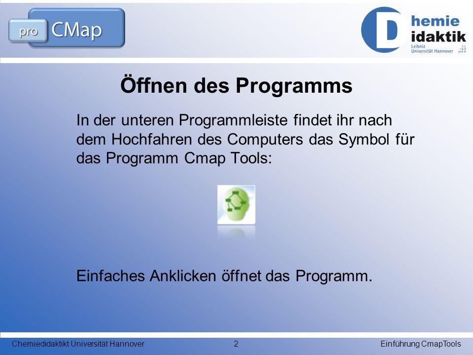 Öffnen eines neuen Dokuments Wenn CmapTools geöffnet ist, siehst du diesen Bildschirm: Einführung CmapToolsChemiedidaktikt Universität Hannover3