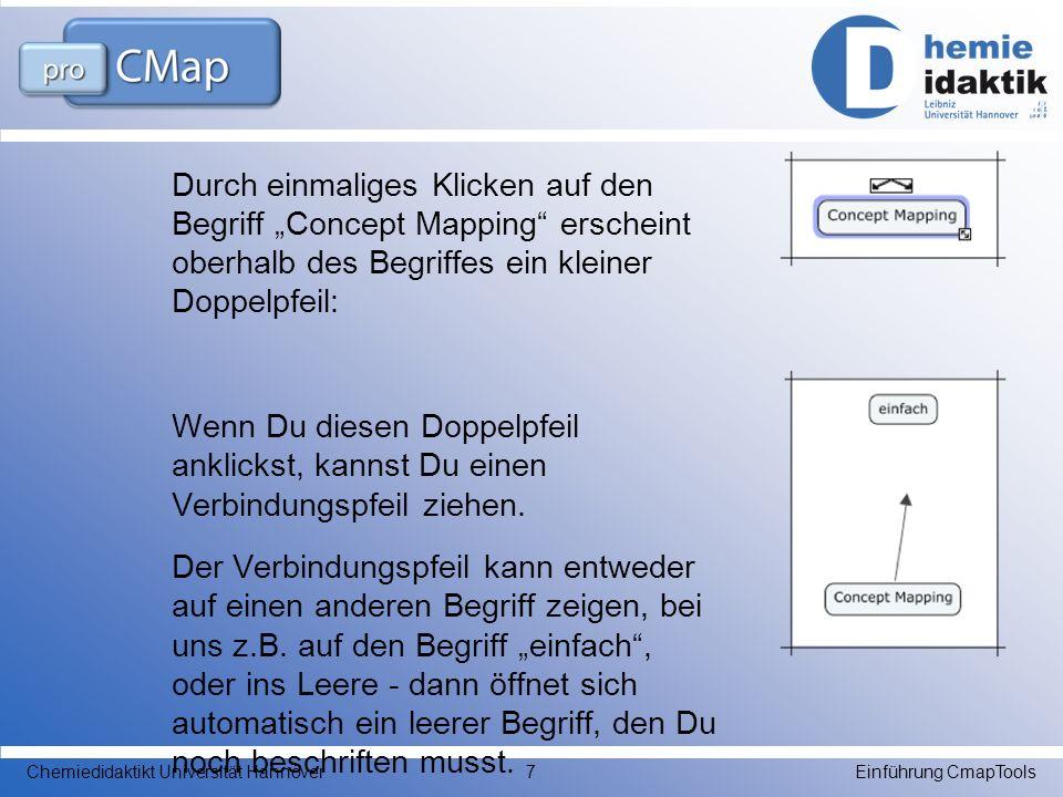 Durch einmaliges Klicken auf den Begriff Concept Mapping erscheint oberhalb des Begriffes ein kleiner Doppelpfeil: Wenn Du diesen Doppelpfeil anklicks
