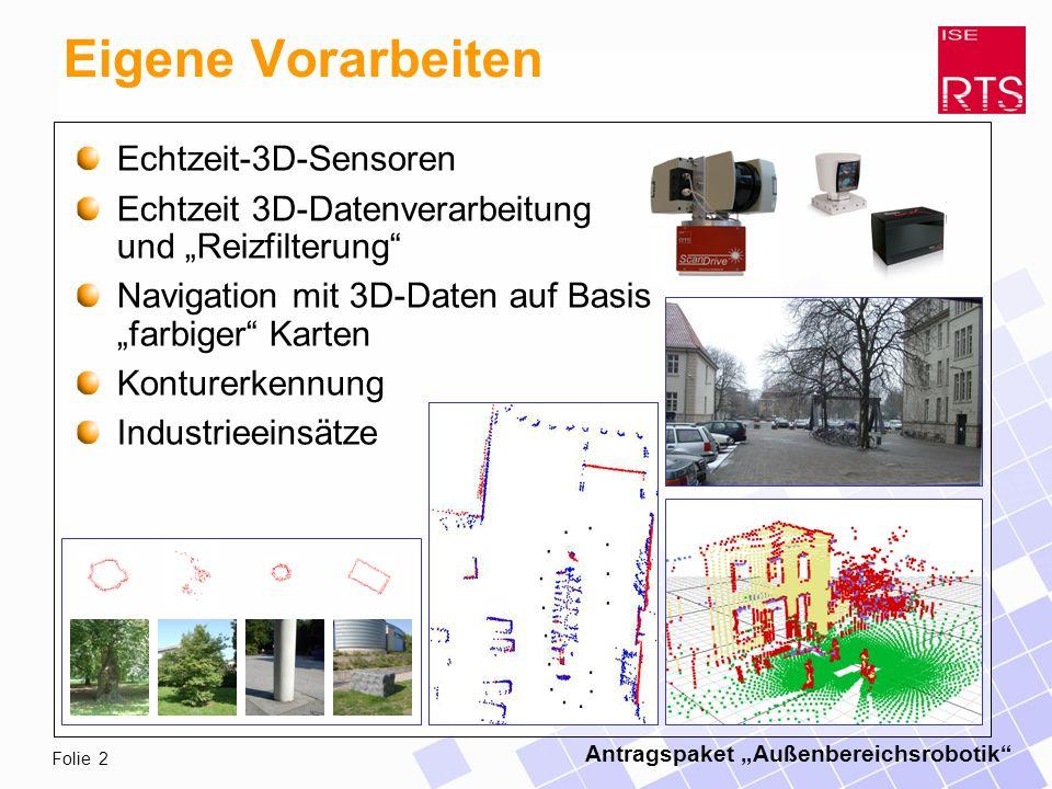 Antragspaket Außenbereichsrobotik Folie 2 Eigene Vorarbeiten Echtzeit-3D-Sensoren Echtzeit 3D-Datenverarbeitung und Reizfilterung Navigation mit 3D-Daten auf Basis farbiger Karten Konturerkennung Industrieeinsätze