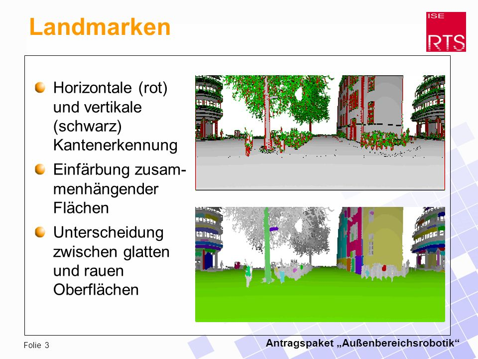 Antragspaket Außenbereichsrobotik Folie 4 Demonstration Video: Aufnahme und Verarbeitung von 3-D- Umgebungsdaten in Echtzeit während der Fahrt.