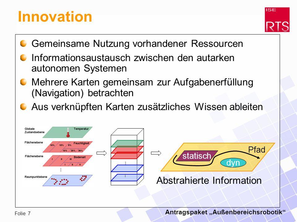 Antragspaket Außenbereichsrobotik Folie 7 Innovation Gemeinsame Nutzung vorhandener Ressourcen Informationsaustausch zwischen den autarken autonomen Systemen Mehrere Karten gemeinsam zur Aufgabenerfüllung (Navigation) betrachten Aus verknüpften Karten zusätzliches Wissen ableiten dyn statisch Abstrahierte Information … … Pfad