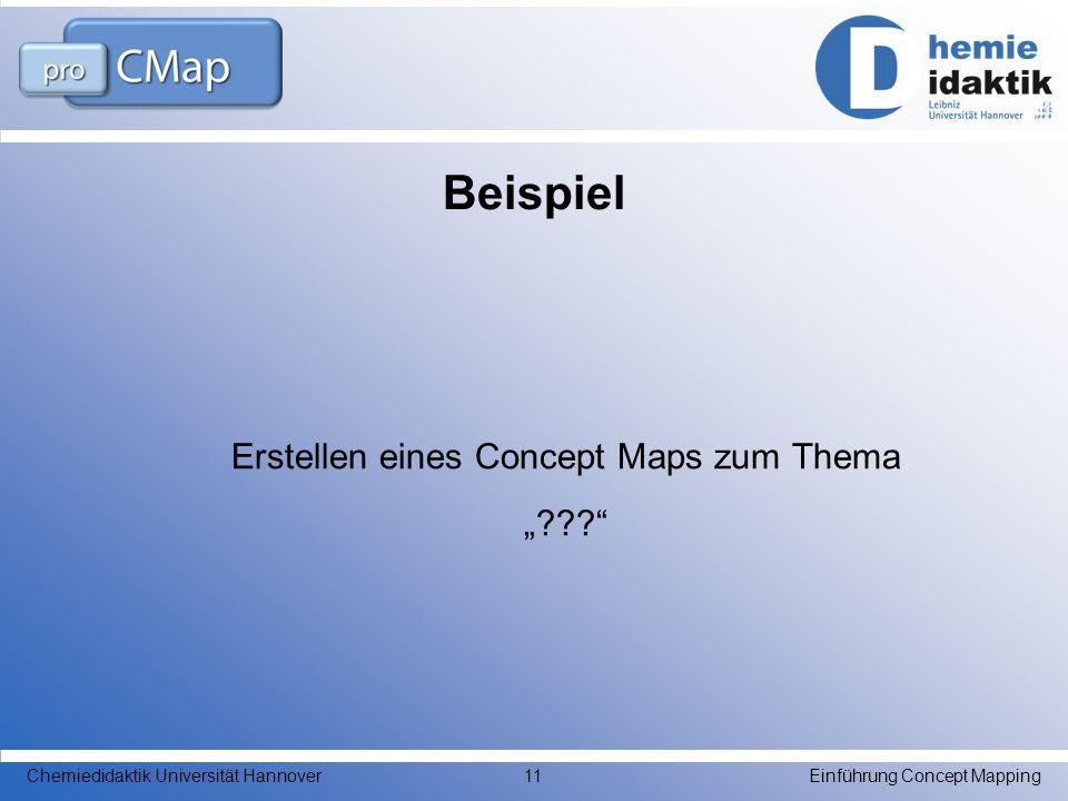 Beispiel Erstellen eines Concept Maps zum Thema ??? Einführung Concept MappingChemiedidaktik Universität Hannover11