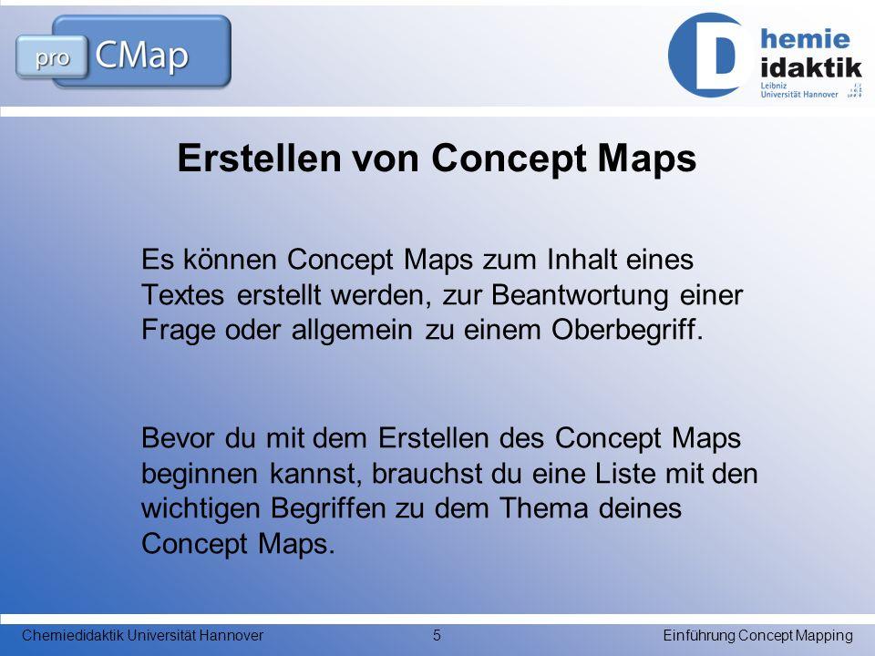 Erstellen von Concept Maps Es können Concept Maps zum Inhalt eines Textes erstellt werden, zur Beantwortung einer Frage oder allgemein zu einem Oberbe