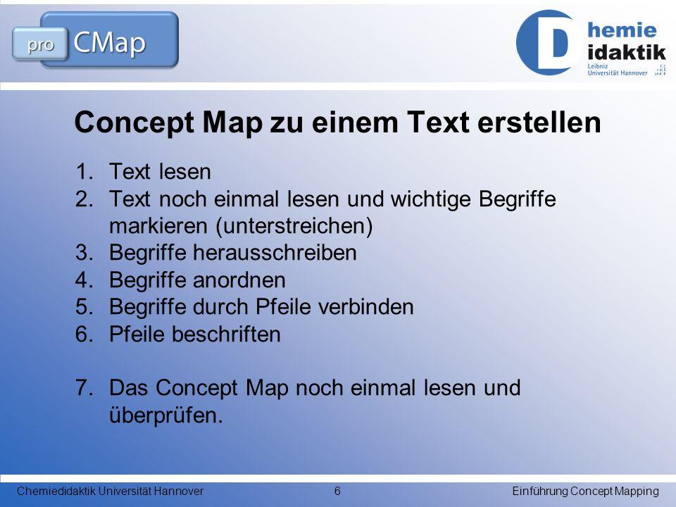 Concept Map zu einem Thema oder einer Frage erstellen 1.Brainstorming: Alles aufschreiben, was Dir zu diesem Thema einfällt 2.wichtige Begriffe markieren (unterstreichen) 3.Begriffe herausschreiben 4.Begriffe anordnen 5.Begriffe durch Pfeile verbinden 6.Pfeile beschriften 7.Das Concept Map noch einmal lesen und überprüfen.