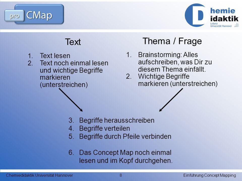 Einführung Concept MappingChemiedidaktik Universität Hannover8 Text 1. Text lesen 2. Text noch einmal lesen und wichtige Begriffe markieren (unterstre