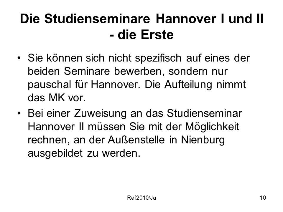 Ref2010/Ja10 Die Studienseminare Hannover I und II - die Erste Sie können sich nicht spezifisch auf eines der beiden Seminare bewerben, sondern nur pa