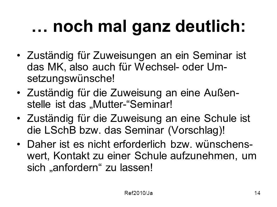 Ref2010/Ja14 … noch mal ganz deutlich: Zuständig für Zuweisungen an ein Seminar ist das MK, also auch für Wechsel- oder Um- setzungswünsche! Zuständig