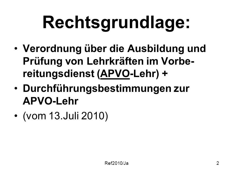 Ref2010/Ja2 Rechtsgrundlage: Verordnung über die Ausbildung und Prüfung von Lehrkräften im Vorbe- reitungsdienst (APVO-Lehr) + Durchführungsbestimmung