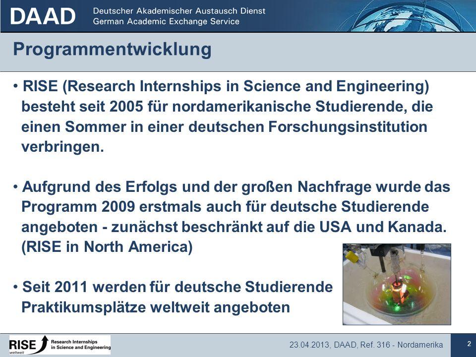 2 23.04.2013, DAAD, Ref. 316 - Nordamerika Programmentwicklung RISE (Research Internships in Science and Engineering) besteht seit 2005 für nordamerik