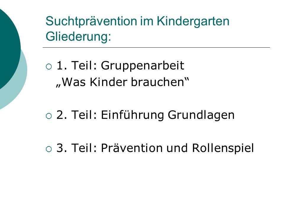 Suchtprävention im Kindergarten Gliederung: 1. Teil: Gruppenarbeit Was Kinder brauchen 2. Teil: Einführung Grundlagen 3. Teil: Prävention und Rollensp