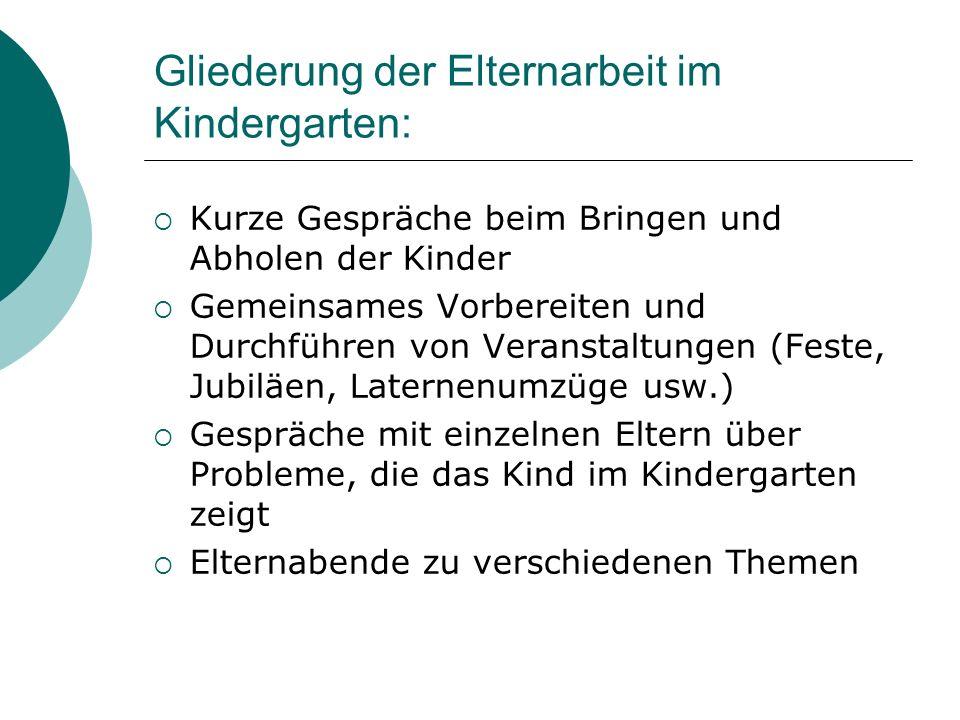 Gliederung der Elternarbeit im Kindergarten: Kurze Gespräche beim Bringen und Abholen der Kinder Gemeinsames Vorbereiten und Durchführen von Veranstal
