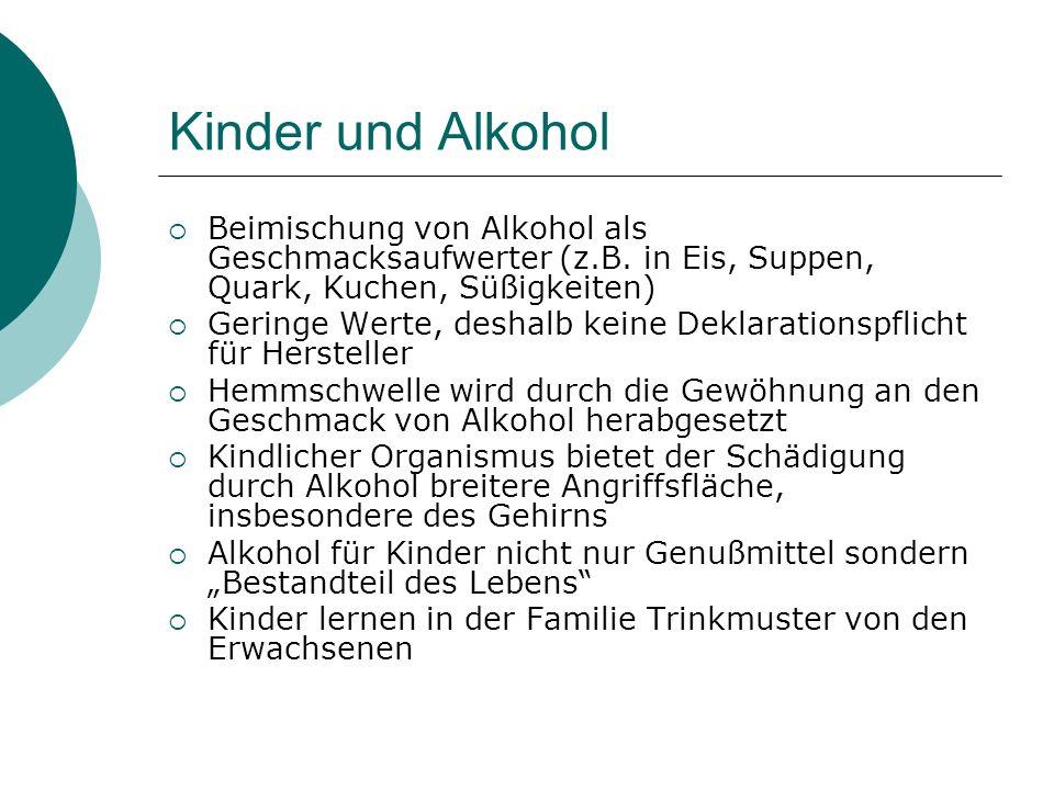 Kinder und Alkohol Beimischung von Alkohol als Geschmacksaufwerter (z.B. in Eis, Suppen, Quark, Kuchen, Süßigkeiten) Geringe Werte, deshalb keine Dekl