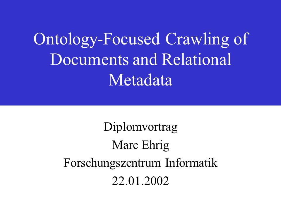 Diplomvortrag Marc Ehrig, FZI 22.01.2002 Ontology-Focused Crawling of Documents and Relational Metadata22 leer