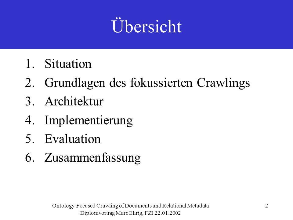 Diplomvortrag Marc Ehrig, FZI 22.01.2002 Ontology-Focused Crawling of Documents and Relational Metadata3 1.