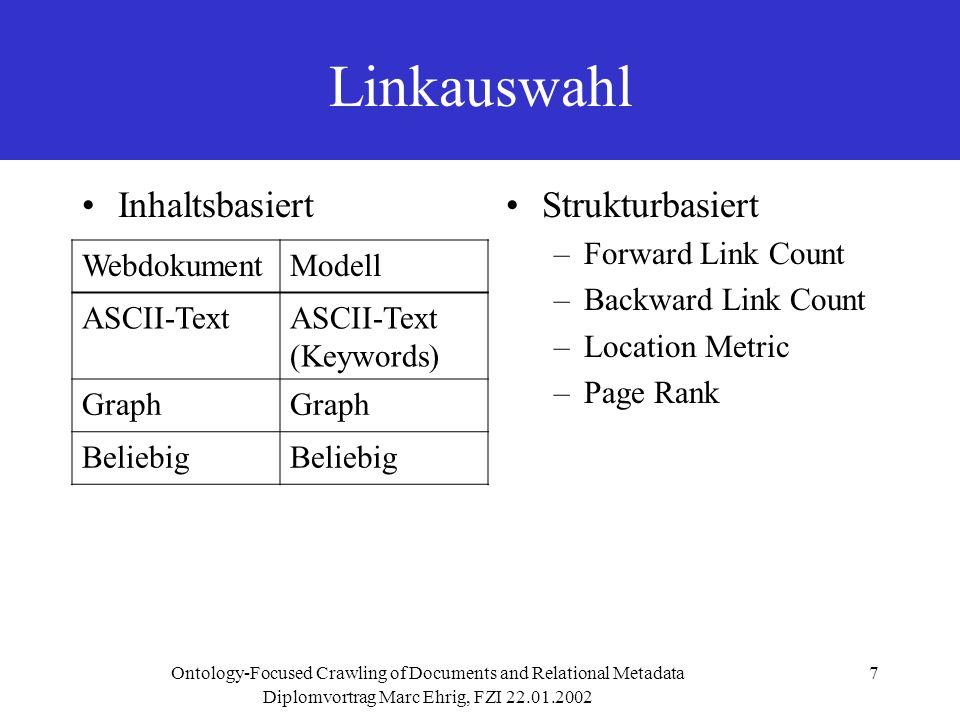 Diplomvortrag Marc Ehrig, FZI 22.01.2002 Ontology-Focused Crawling of Documents and Relational Metadata8 Welcher Dokumenteninhalt ist noch relevant für die Suche.