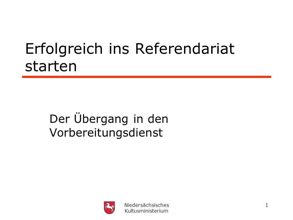 Niedersächsisches Kultusministerium 1 Erfolgreich ins Referendariat starten Der Übergang in den Vorbereitungsdienst