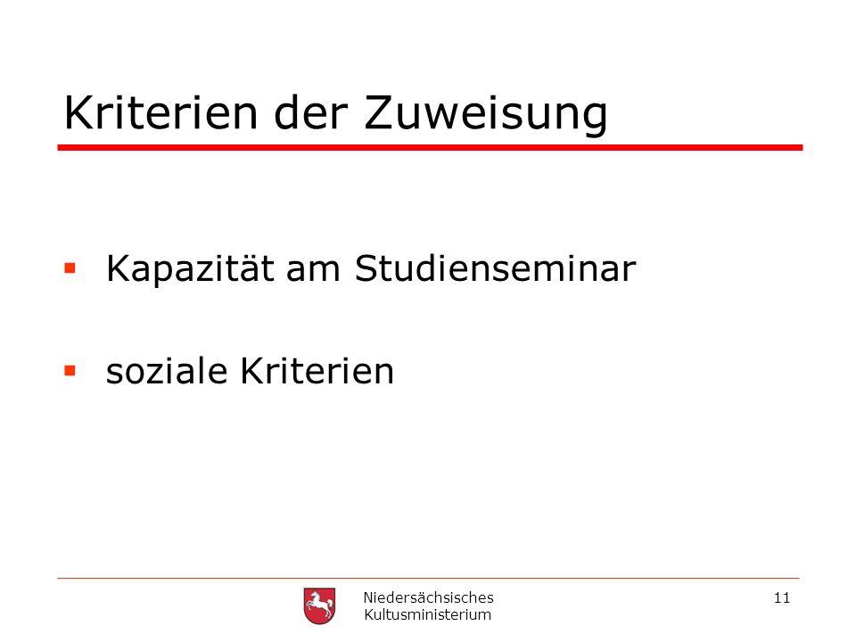 Niedersächsisches Kultusministerium 11 Kriterien der Zuweisung Kapazität am Studienseminar soziale Kriterien
