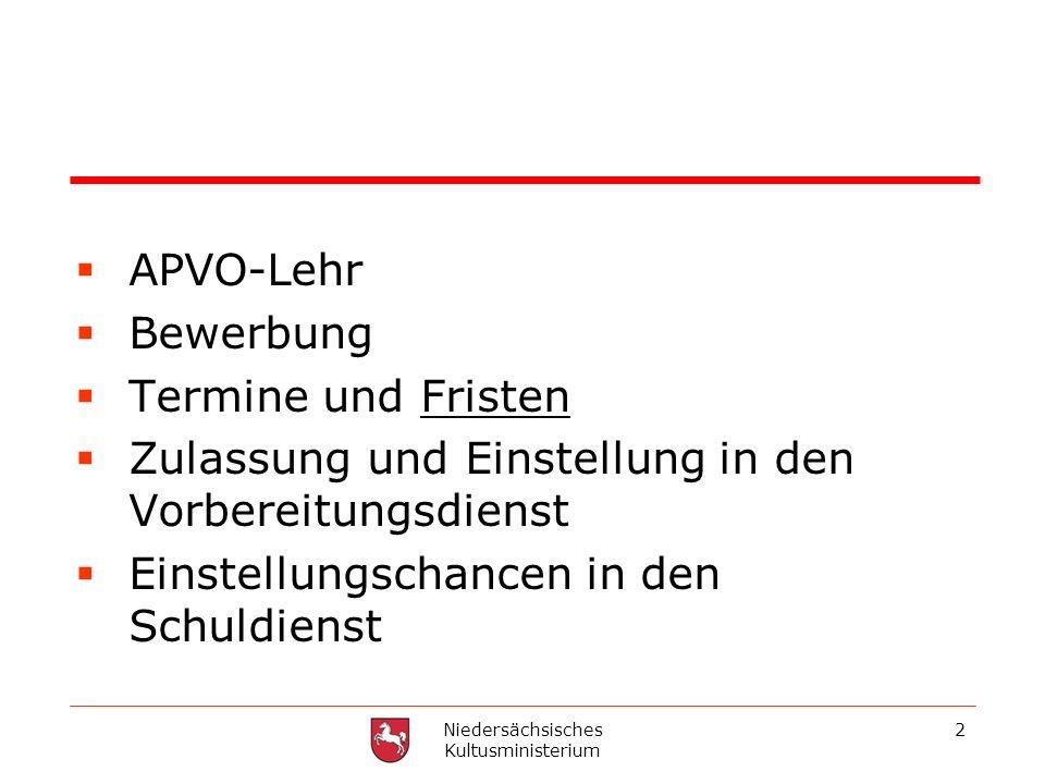 Niedersächsisches Kultusministerium 2 APVO-Lehr Bewerbung Termine und Fristen Zulassung und Einstellung in den Vorbereitungsdienst Einstellungschancen