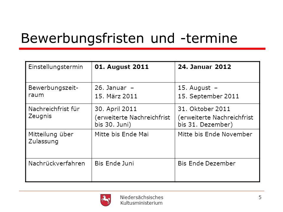 Niedersächsisches Kultusministerium 5 Bewerbungsfristen und -termine Einstellungstermin01. August 201124. Januar 2012 Bewerbungszeit- raum 26. Januar