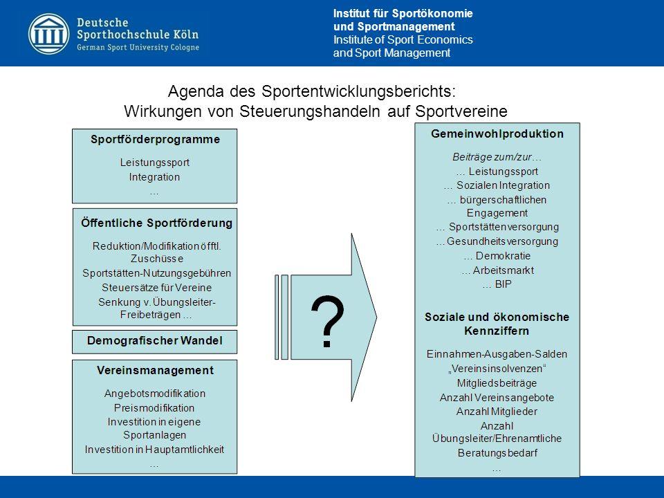 Institut für Sportökonomie und Sportmanagement Institute of Sport Economics and Sport Management Agenda des Sportentwicklungsberichts: Wirkungen von S