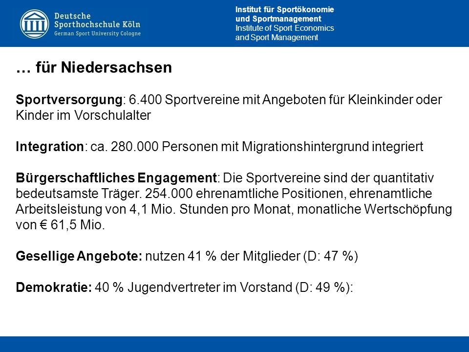 Institut für Sportökonomie und Sportmanagement Institute of Sport Economics and Sport Management … für Niedersachsen Sportversorgung: 6.400 Sportvereine mit Angeboten für Kleinkinder oder Kinder im Vorschulalter Integration: ca.