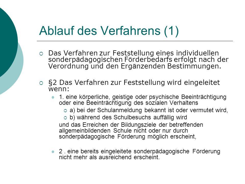 Ablauf des Verfahrens (1) Das Verfahren zur Feststellung eines individuellen sonderp ä dagogischen F ö rderbedarfs erfolgt nach der Verordnung und den Erg ä nzenden Bestimmungen.