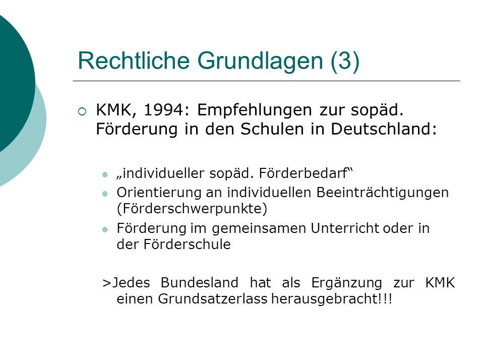 Rechtliche Grundlagen (3) KMK, 1994: Empfehlungen zur sopäd.