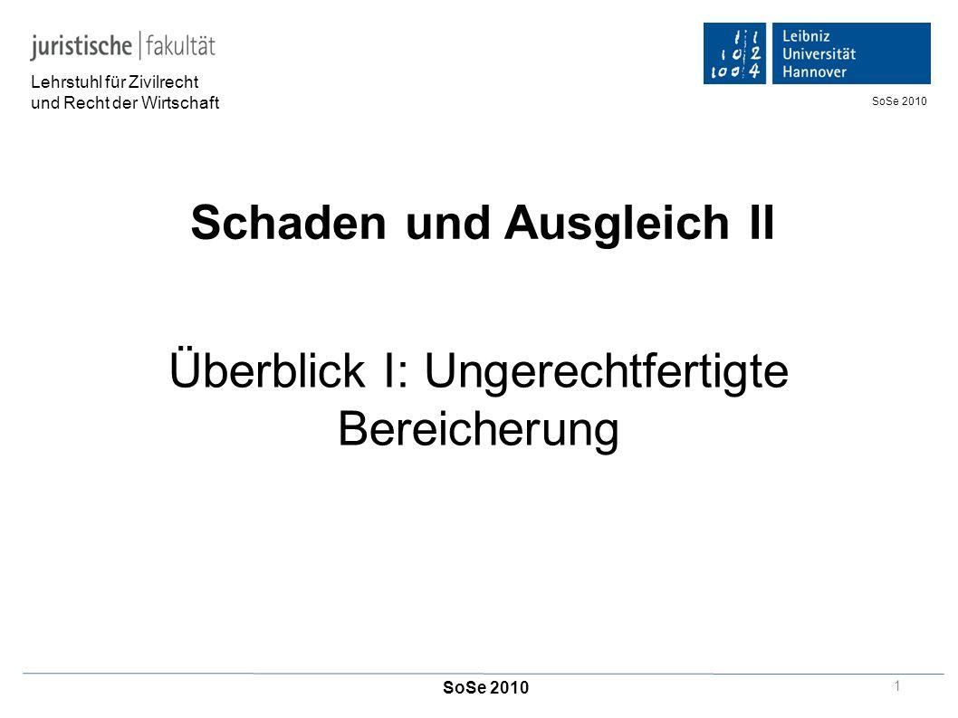 Schaden und Ausgleich II Überblick I: Ungerechtfertigte Bereicherung Lehrstuhl für Zivilrecht und Recht der Wirtschaft SoSe 2010 1