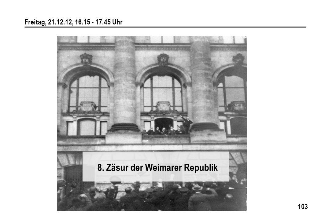 103 Freitag, 21.12.12, 16.15 - 17.45 Uhr 8. Zäsur der Weimarer Republik