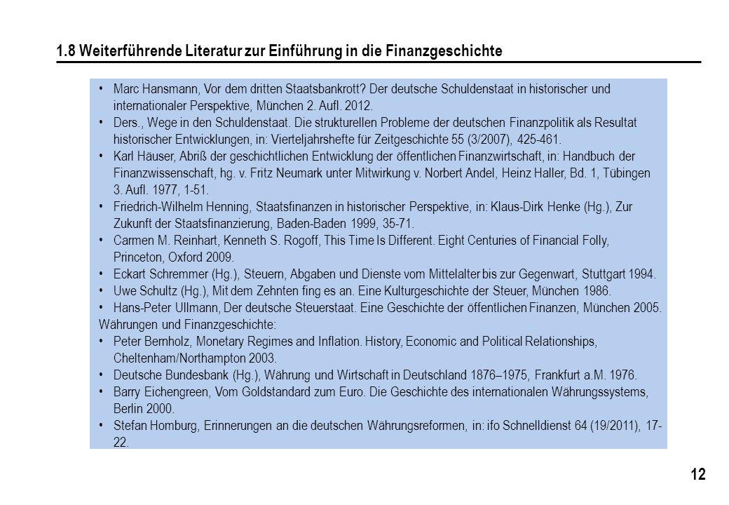 12 1.8 Weiterführende Literatur zur Einführung in die Finanzgeschichte Marc Hansmann, Vor dem dritten Staatsbankrott? Der deutsche Schuldenstaat in hi