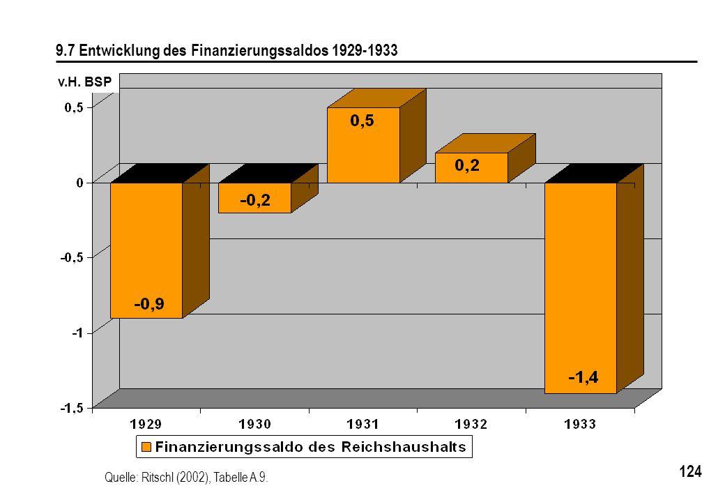 124 9.7 Entwicklung des Finanzierungssaldos 1929-1933 Quelle: Ritschl (2002), Tabelle A.9. v.H. BSP