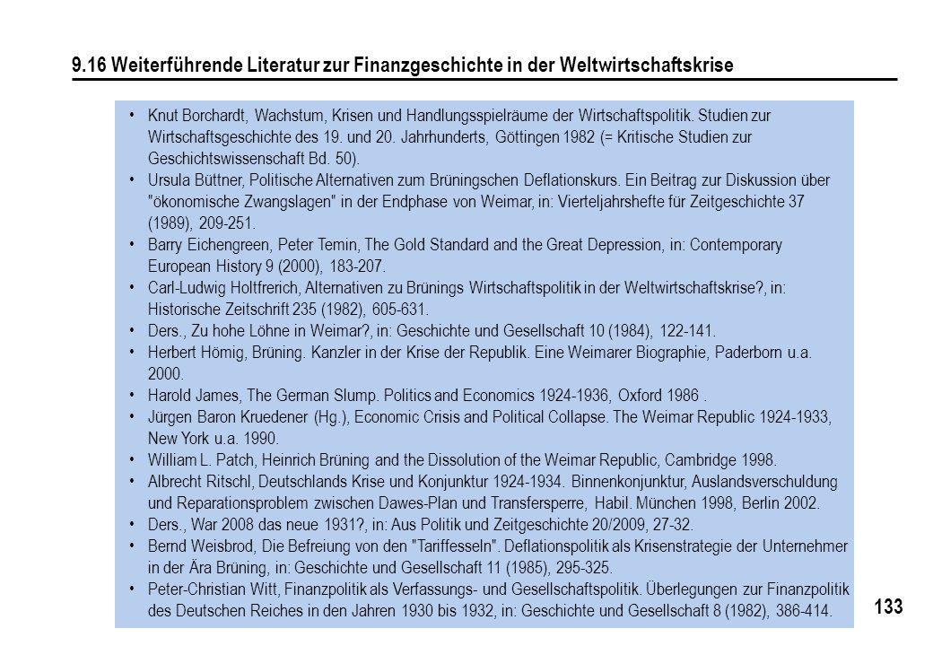 133 9.16 Weiterführende Literatur zur Finanzgeschichte in der Weltwirtschaftskrise Knut Borchardt, Wachstum, Krisen und Handlungsspielräume der Wirtschaftspolitik.