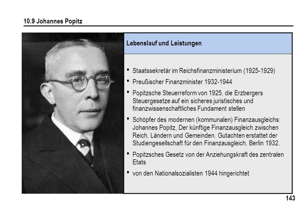 143 10.9 Johannes Popitz Lebenslauf und Leistungen Staatssekretär im Reichsfinanzministerium (1925-1929) Preußischer Finanzminister 1932-1944 Popitzsc
