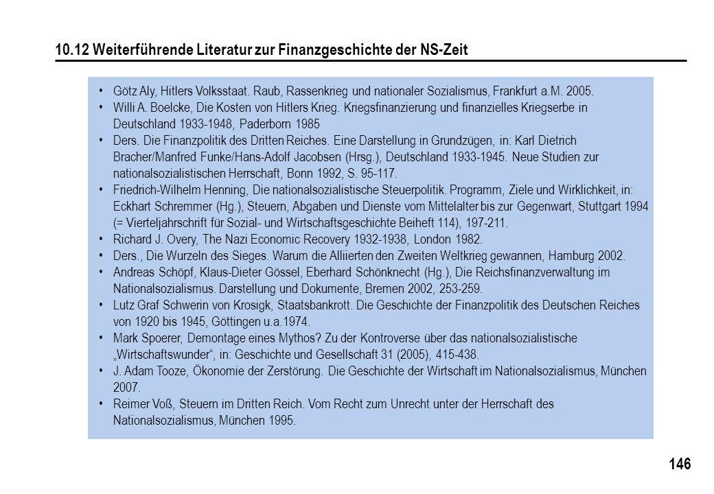 146 10.12 Weiterführende Literatur zur Finanzgeschichte der NS-Zeit Götz Aly, Hitlers Volksstaat. Raub, Rassenkrieg und nationaler Sozialismus, Frankf