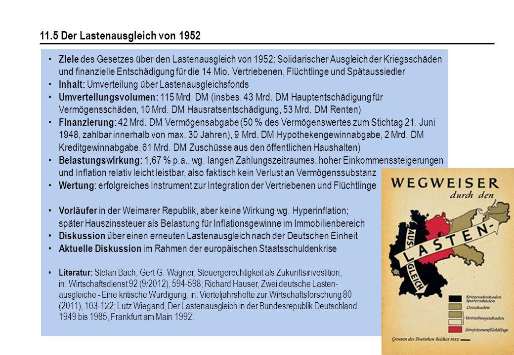 152 11.5 Der Lastenausgleich von 1952 Ziele des Gesetzes über den Lastenausgleich von 1952: Solidarischer Ausgleich der Kriegsschäden und finanzielle Entschädigung für die 14 Mio.
