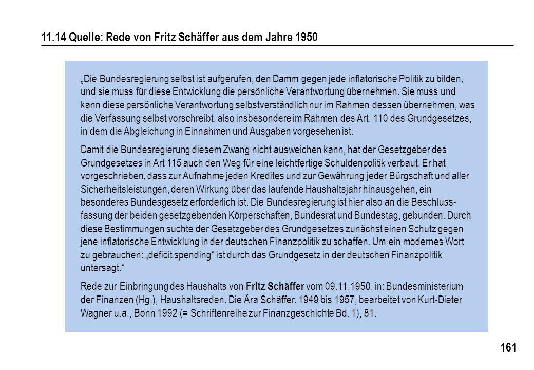 161 11.14 Quelle: Rede von Fritz Schäffer aus dem Jahre 1950 Die Bundesregierung selbst ist aufgerufen, den Damm gegen jede inflatorische Politik zu bilden, und sie muss für diese Entwicklung die persönliche Verantwortung übernehmen.