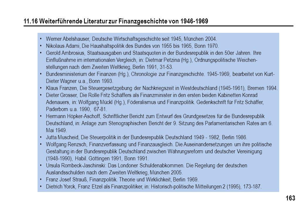 163 11.16 Weiterführende Literatur zur Finanzgeschichte von 1946-1969 Werner Abelshauser, Deutsche Wirtschaftsgeschichte seit 1945, München 2004.