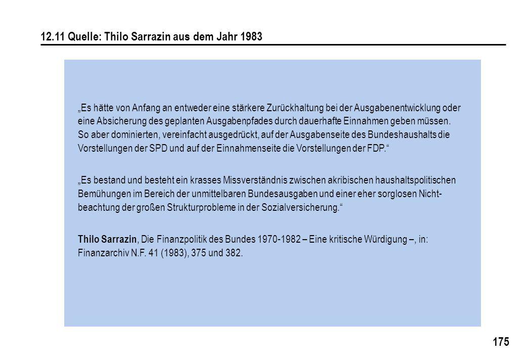 175 12.11 Quelle: Thilo Sarrazin aus dem Jahr 1983 Es hätte von Anfang an entweder eine stärkere Zurückhaltung bei der Ausgabenentwicklung oder eine Absicherung des geplanten Ausgabenpfades durch dauerhafte Einnahmen geben müssen.