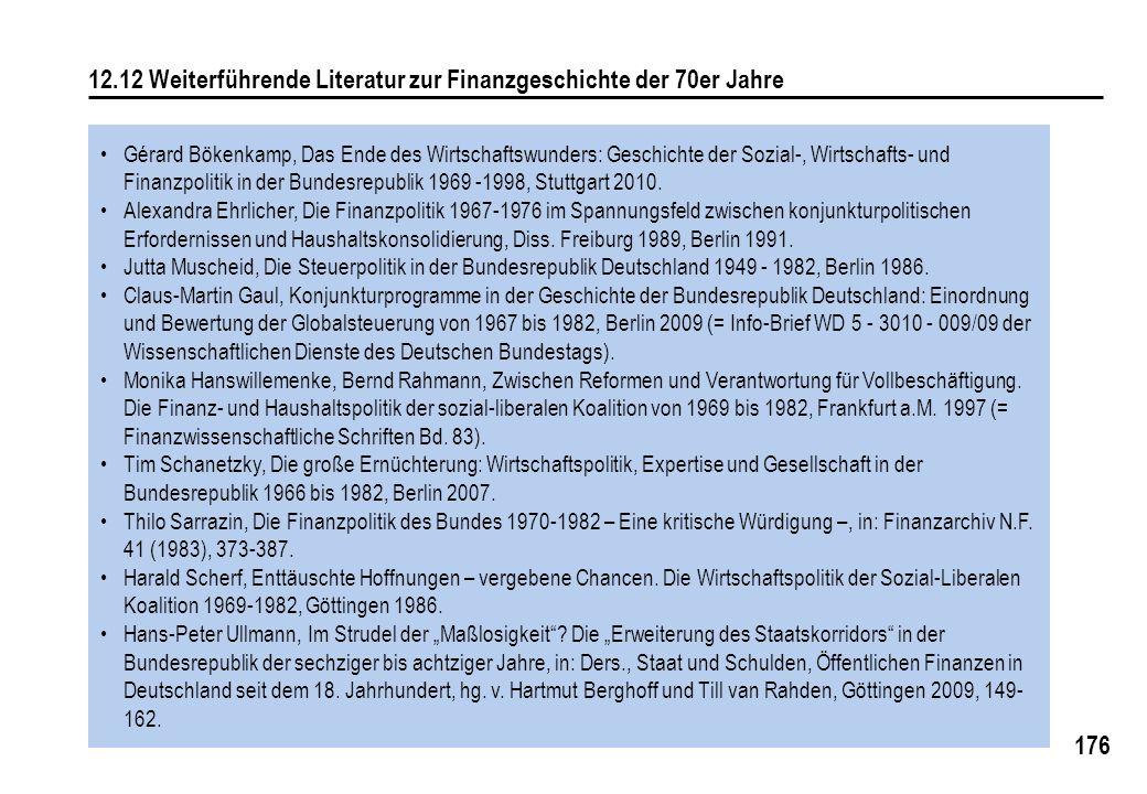 176 12.12 Weiterführende Literatur zur Finanzgeschichte der 70er Jahre Gérard Bökenkamp, Das Ende des Wirtschaftswunders: Geschichte der Sozial-, Wirtschafts- und Finanzpolitik in der Bundesrepublik 1969 -1998, Stuttgart 2010.