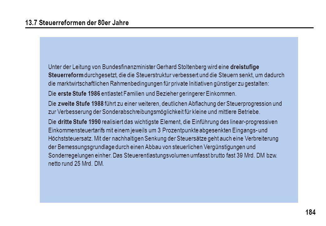 184 13.7 Steuerreformen der 80er Jahre Unter der Leitung von Bundesfinanzminister Gerhard Stoltenberg wird eine dreistufige Steuerreform durchgesetzt, die die Steuerstruktur verbessert und die Steuern senkt, um dadurch die marktwirtschaftlichen Rahmenbedingungen für private Initiativen günstiger zu gestalten: Die erste Stufe 1986 entlastet Familien und Bezieher geringerer Einkommen.