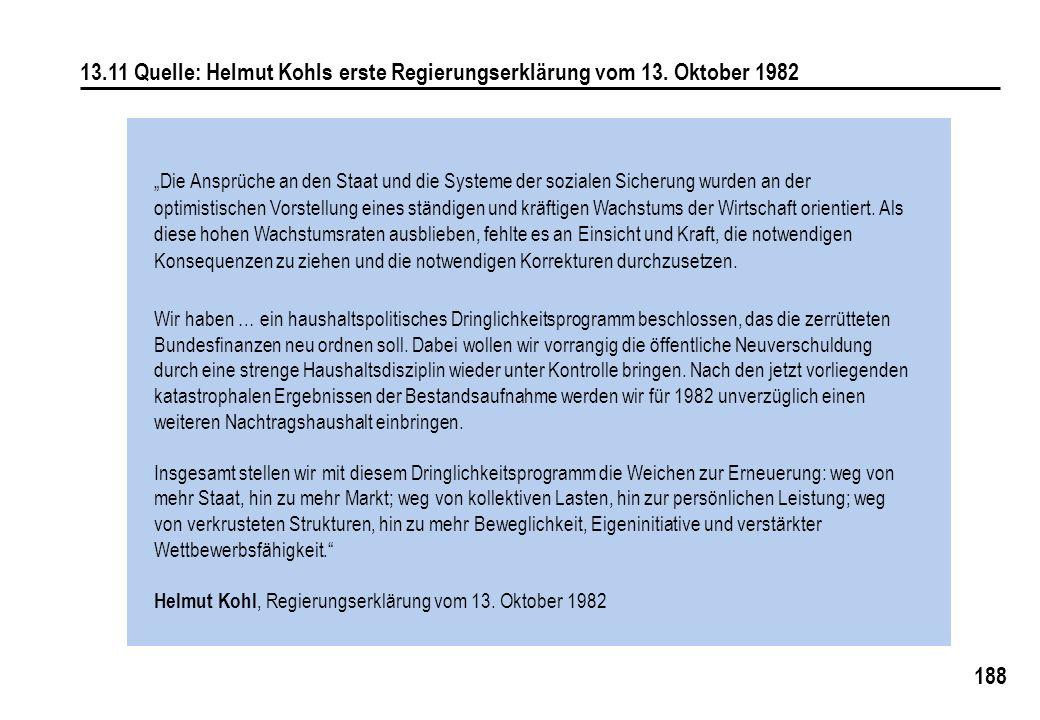 188 13.11 Quelle: Helmut Kohls erste Regierungserklärung vom 13. Oktober 1982 Die Ansprüche an den Staat und die Systeme der sozialen Sicherung wurden