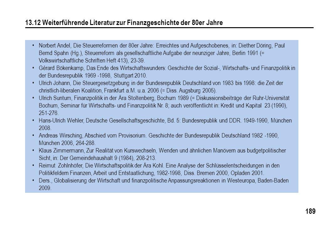 189 13.12 Weiterführende Literatur zur Finanzgeschichte der 80er Jahre Norbert Andel, Die Steuerreformen der 80er Jahre: Erreichtes und Aufgeschobenes