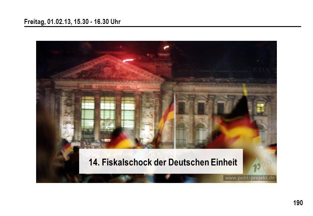 190 Freitag, 01.02.13, 15.30 - 16.30 Uhr 14. Fiskalschock der Deutschen Einheit