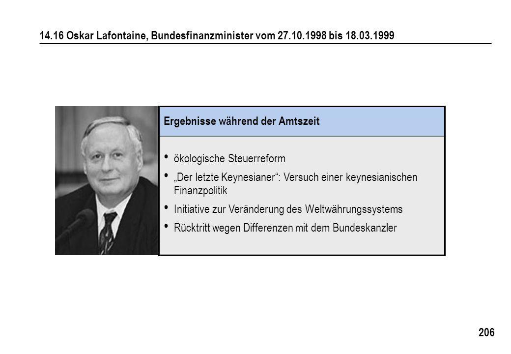 206 14.16 Oskar Lafontaine, Bundesfinanzminister vom 27.10.1998 bis 18.03.1999 Ergebnisse während der Amtszeit ökologische Steuerreform Der letzte Key