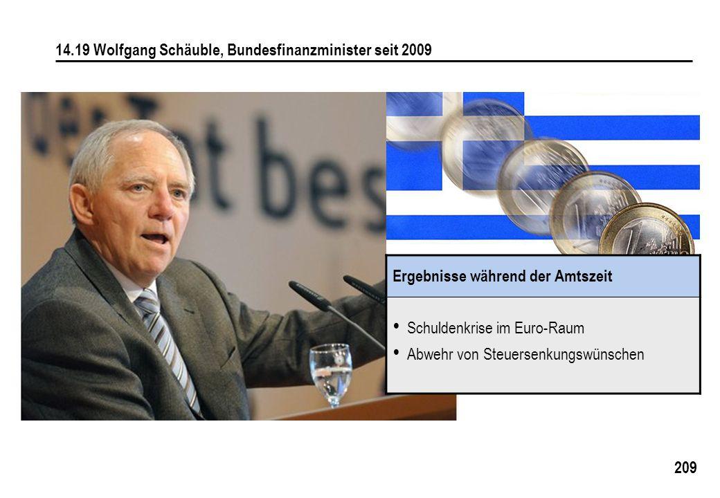 209 14.19 Wolfgang Schäuble, Bundesfinanzminister seit 2009 Ergebnisse während der Amtszeit Schuldenkrise im Euro-Raum Abwehr von Steuersenkungswünschen